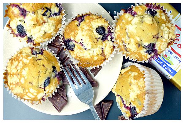 春天就是要吃蓝莓巧克力玛芬!