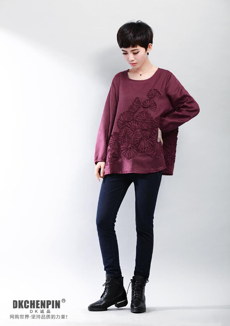 装新款女装韩版加肥加大码胖mm长袖盘花娃娃衫苎麻T恤衬衫