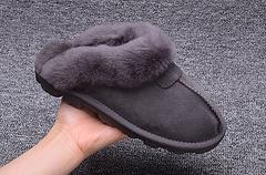 UGG千颂伊同款来自星星的你羊皮毛一体拖鞋灰色尺码3640码
