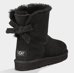 官方同步UGG雪地靴ugg羊皮毛一体1006057灯芯绒蝴蝶结短筒女鞋黑色