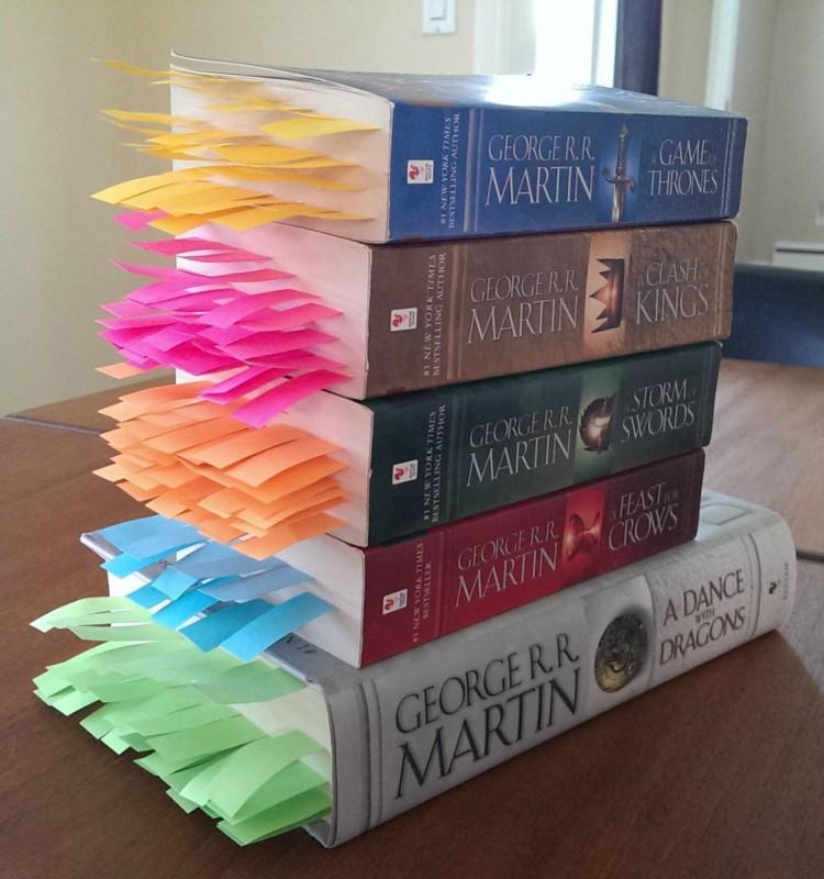 某个耐心的读者在马丁的《冰与火之歌》中标记出了所有有角色死亡的书页