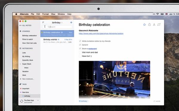 AlterNote-印象笔记Mac OS X第三方客户端