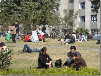 围坐草坪-享受阳光|艳阳天——悠闲的川大望江校区