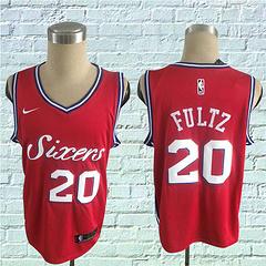 17-18赛季NBA耐克球迷版76人20号富尔茨红色球衣
