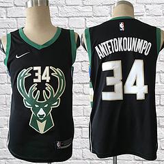 17-18赛季NBA耐克球迷版雄鹿34号安特托昆博黑色球衣
