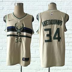 17-18赛季NBA耐克球迷城市版雄鹿34号安特托昆博米白球衣