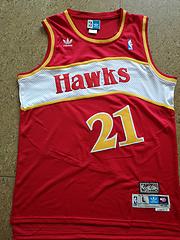 老鹰队21号威尔金斯复古红色极品网眼球衣