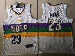 NBA耐克球迷版鹈鹕队23#戴维斯白色城市版球衣