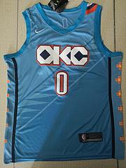 NBA耐克球迷版雷霆队0#威斯布鲁克浅蓝色城市版球衣