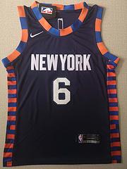 NBA耐克球迷版尼克斯6#波尔津吉斯城市版深蓝色球衣