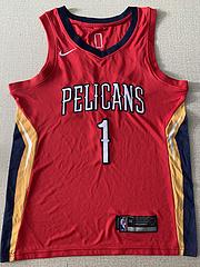 NBA耐克球迷版鹈鹕队1#威廉姆斯红色球衣