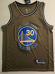 NBA耐克球迷版勇士队30号库里军绿色球衣