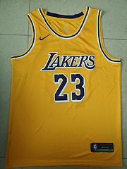 18-19赛季NBA耐克球迷版湖人23号詹姆斯黄色球衣
