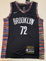 NBA耐克球迷版篮网72#比格斯音乐城市版黑色球衣