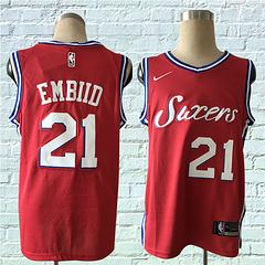 17-18赛季NBA耐克球迷版76人21号恩比德红色球衣