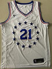 NBA耐克球迷版76人21#恩比德白色奖励版球衣
