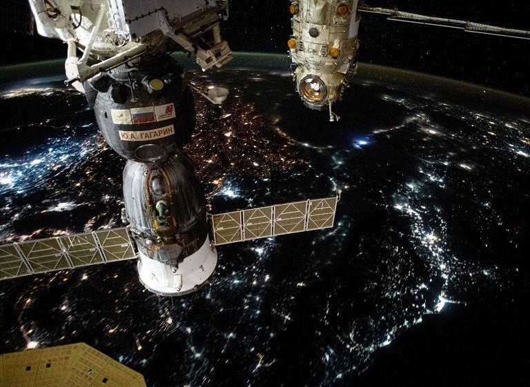 空间站俯瞰欧亚大陆
