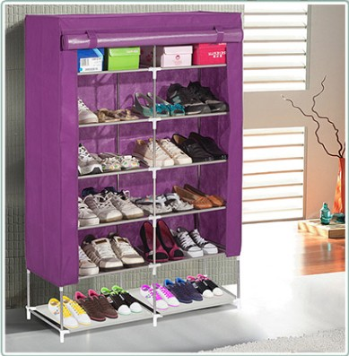 Purple Dust Proof Steel Frame Non Woven L120 W30 H115CM 2 Row DIY Shoe Rack ^