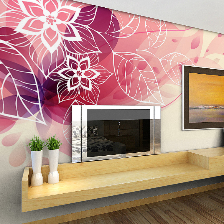 C d modern simple style background 3d flower murals living for Mural 3d simple