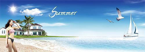 夏日海滩别墅度假海景美女相伴