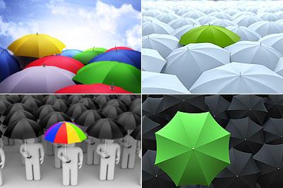 多姿多彩的雨伞聚集