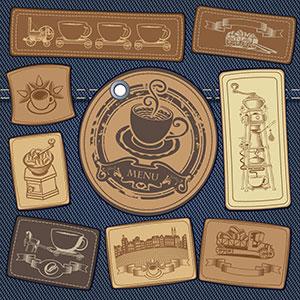 牛仔布料上的咖啡logo设计
