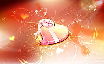 精美的橘红情人爱心礼物主题海报素材