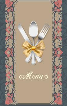 欧式花纹西餐菜单设计图