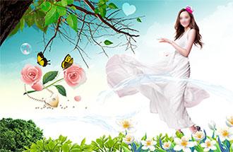 与大自然亲密接触的靓丽美景美女海报