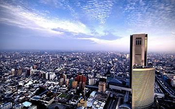 高处鸟瞰城市建筑全貌