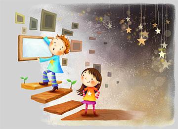 卡通小孩挂壁画