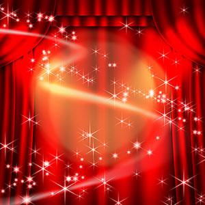 红色闪亮星光舞台布景