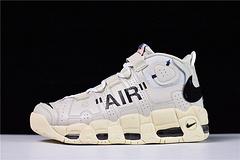 """【顶级原装 专柜品质】 Off-White x Nike Air More Uptempo皮蓬一代篮球鞋""""OW奶油黄白黑橘""""902290-012"""
