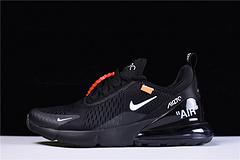"""【顶级原装 专柜品质】 virgil abloh设计师品牌Off white x Nike Air Max 270系列后跟半掌气垫慢跑鞋 """"OW白橘""""AH8050-011"""