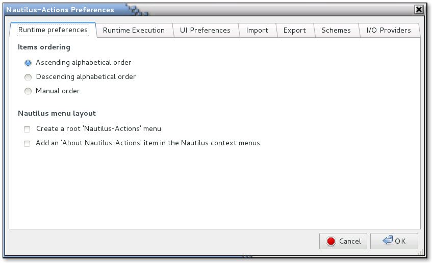 Nautilus Actions Configuration Tool Preferences