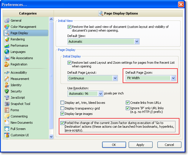 PDF-XChange Viewer Preferences