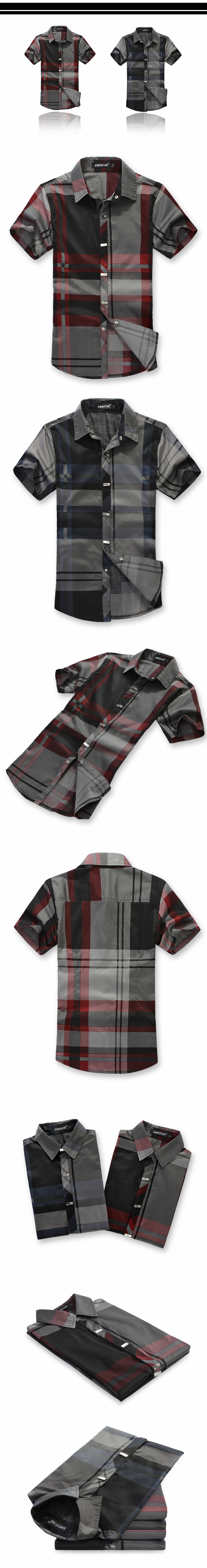 YW Korean slim spring new shirts men's short sleeve Plaid men's shirt trend of leisure wear clothing