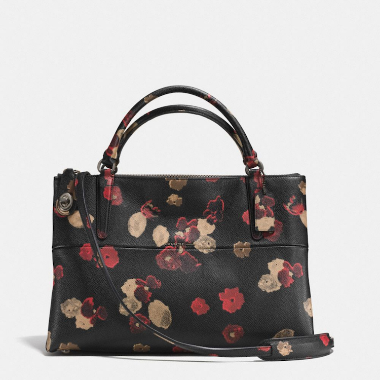 Coach Multicolor Turnlock Borough Bag In Floral Print Leather