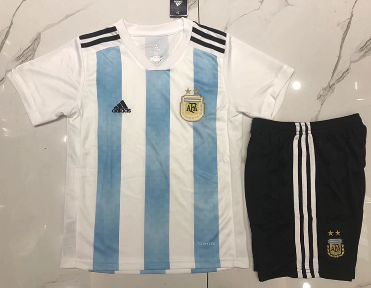 a0e914249 2018 World Cup Argentina Home Blue-White Color Youth Kids Football ...