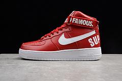 原装真标公司级 亚博集团空军一号板鞋 头层皮 SUP高帮 红色 698696-610 男女鞋