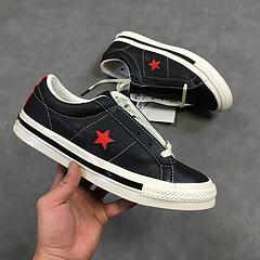 """正确蓝色中底高版本 强势联名1997 韩国街头潮鞋店Kasina x Converse One Star Low一星低帮皮革硫化板鞋""""黑红星1997""""162839C"""