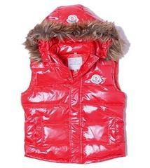 01B Moncler vest female vest fur collar red