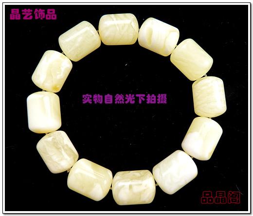 极品天然波兰琥珀13 17mm桶珠象牙白蜜蜡手链2 送鉴定证书 高清图片