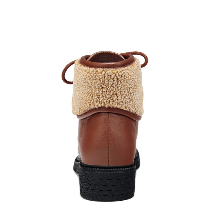 黄铜 鞋子/古奇天伦7831 方跟女靴 保暖短靴 休闲女鞋子卡其色35/40