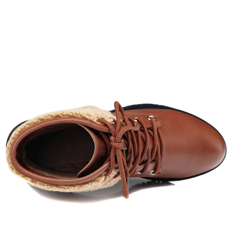 鞋子 天伦/古奇天伦7831 方跟女靴 保暖短靴 休闲女鞋子卡其色35/40