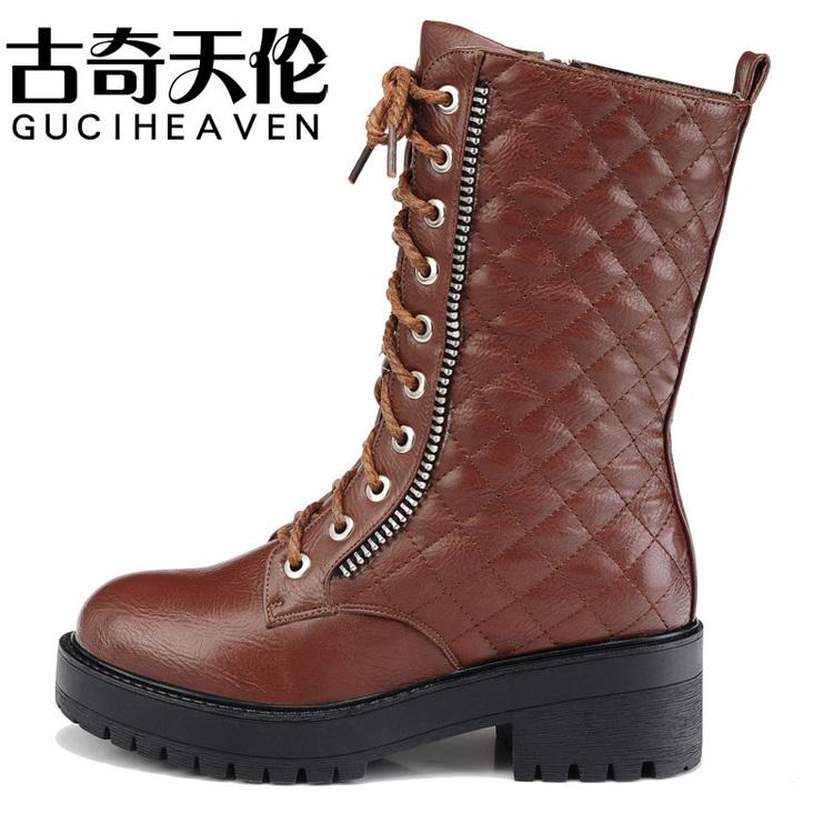 马丁/古奇天伦7836 方跟女靴厚底马丁靴拉链女鞋子35/40