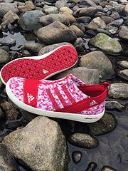 阿迪达斯2015夏季男女鞋户外涉水鞋中国红石膏白3645