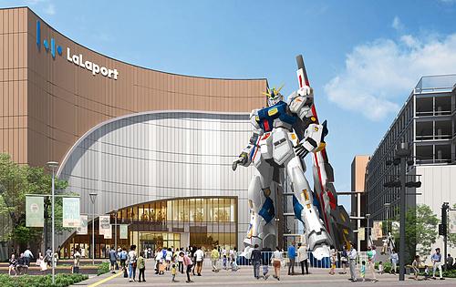 ν高达!实物大ν高达!高达20米!2022年日本啦啦宝都福冈店门前
