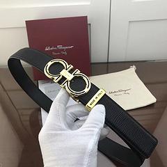 菲拉格慕新款钢扣皮带(金)