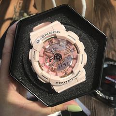 女神浅粉卡西欧GA110系列gshock运动手表抬手灯超强防水
